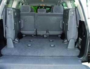 Split cargo doors won't make the LC 200 the easiest wagon to load in the car park but it's good to note the way side seating is up out of the way.