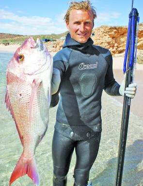 Abe Shelton shows off a snapper take on a shore dive.