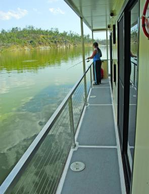 Safety rails are a feature of the houseboat that's sure to please parents with small children.