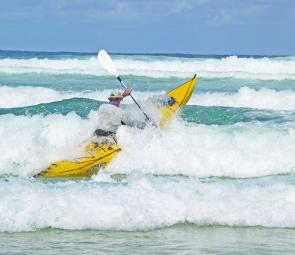 Heading out through the surf in a metre of swell at Narrowneck was no problem for Craig and the Prowler.