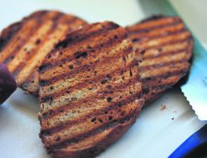 Toast the wholegrain bread until it is crunchy and biscuit like.