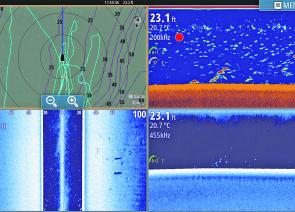 Having a 4-way split screen is a great benefit of a larger screen. Image courtesy of Lee Parkhouse (Simrad NSS12).