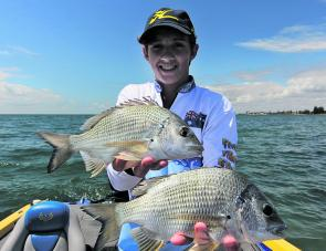 Jesse Gough gets amongst Redcliffe's finest bream.