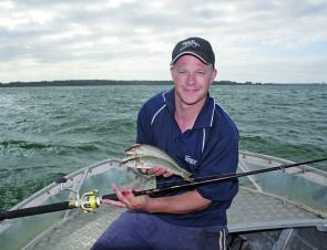 The author with a pair of whiting caught on small circles.