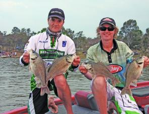 Now there's a bag of bass to be happy with. A full limit of Boondooma bass makes for happy anglers.