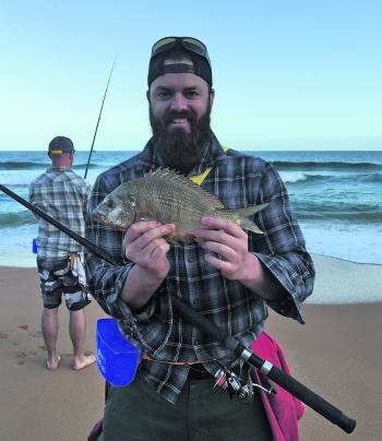 Mitch Wood with his personal best beach bream that measured 38cm.