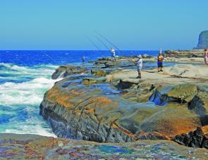 Anglers trying their luck at South Avoca. Kingfish, bonito and salmon are among the more popular targets here.