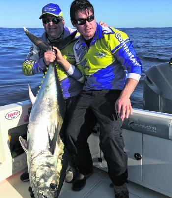 The author and Rush on the bluefin. At this stage most of the fish are out very, very wide.