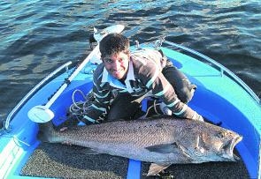 Jase Aguiar with a bigger than average Lake Mac mulloway.