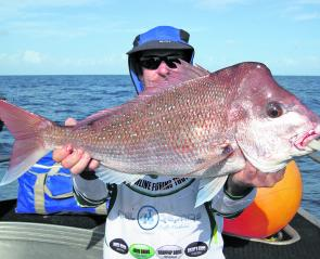 One of the many nice snapper that have been caught on the Keely Rose lately.
