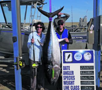 Anthony Ljubic and the 127.7kg tuna he caught with Lucas Wilson off Warrnambool recently.