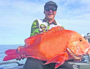 Local angler Jordan Zerk won the $50.00 Davo's Fish of the Week prize with this thumper red emperor from Double Island Point.