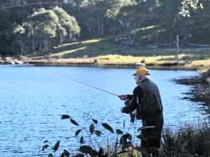 Bryan Pratt checking out the browns and rainbows on a likely new fishing location near Nimmitabel, Kungla Lakes.