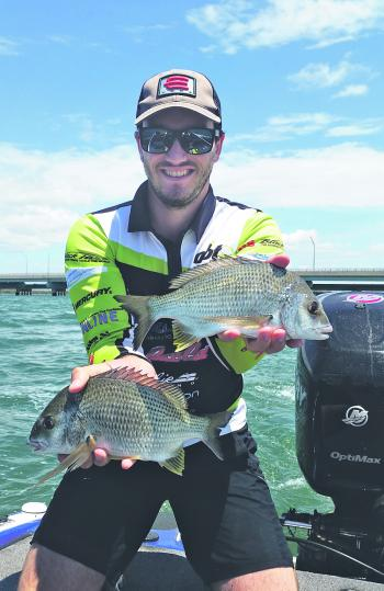 David Simmons with some healthy Redcliffe bream.