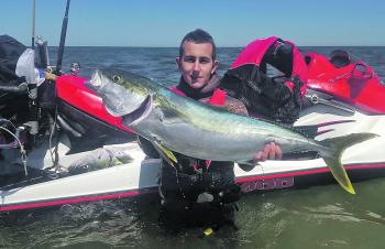 Jai Kaartinen Price with a monster West Coast kingfish.