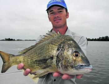Troy Van Kanven with a quality Manning River bream. Photo courtesy of Simon Goldsmith.