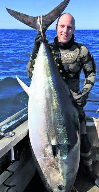 Leigh Elliot with his Australian record Bluefin of 139.4kg speared last season.