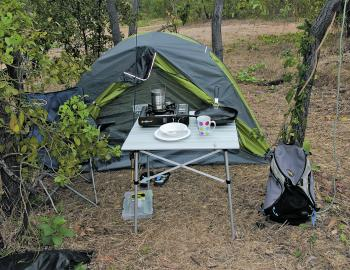 One of the author's beloved fly-in camping set ups for Cape York. Just add a hire car and off we go! It's a bit rough, but it works.