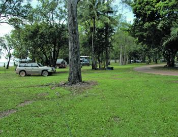 The main camping ground at Weipa has ample shade from non-eucalypt trees with the beach adjoining the camping area.