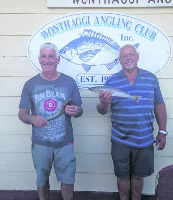 Wonthaggi anglers Danny Luna and Alan Bentick with competition winning fish.