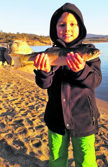 Gabriel Baker with her very first fish taken on a scrubworm!