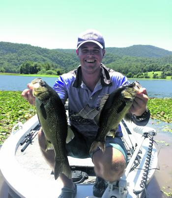 Matt Johnson with his second-place-winning bass at Clarrie Hall.