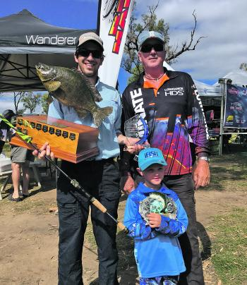 The winners – Maverick World Sooty Champion Angler Daniel Grech, Largest Fish winner Geoff Newby and Champion Junior Bryce Purdy.