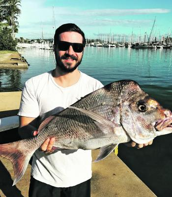 Snapper are on the menu during the cooler months like this one caught by Jeremy Hoover.