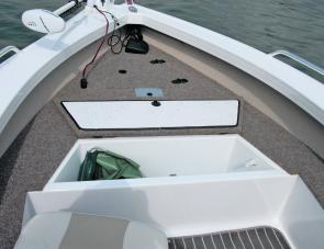 Under deck hatches up front are suited to general storage with the live well handy for bait or the catch.