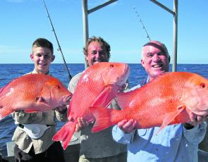 One of the highlights for the month was this triple hook-up of reds caught on the Keely Rose.
