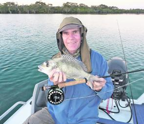 Every rule has an exception. The author picked up this bream under a school of working tailer on 8wt tackle but a lighter fly rod and smaller flies will be far more productive.