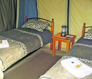 The tents are set up for two in single beds that are comfortable and provide a degree of 'pamper' that sets Leopard Tree Lodge apart.