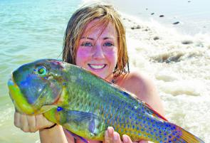 Ebony Smith with a blackspot tuskfish caught while rock hopping.