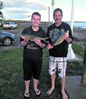 John Cutriss and Steve Waldron at Mahers Landing after good day out on the salmon and whiting.