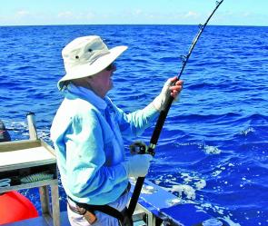 Edwin Martin, a spritely 85 years old, doing battle with a sailfish off the Sunshine Coast.