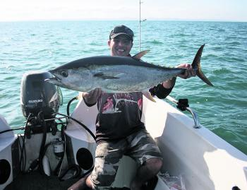 Jamal Kanj with a Moreton Bay bullet! This tuna fell to a DUO stickbait thrown into a feeding frenzy!