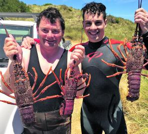 Shane Lowery and Joseph Fernand with some average sized lobster for this time of year.