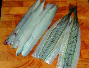 Garfish are one of the best eating fish there is. The big ones can be filleted, and the smaller versions rolled with a rolling pin before being cooked whole.