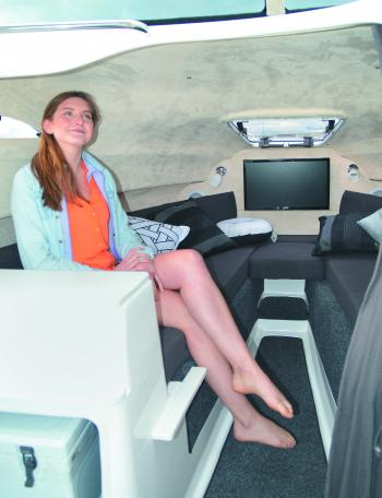 That's probably the best-appointed cabin seen in a Fishing Monthly boat test, with plenty of legroom and headroom. Check out the flatscreen TV!