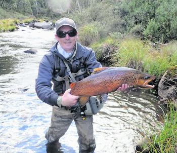 Nathan Walker with a magnificent 4.2kg brown trout caught on a size 16 black nymph in the Eucumbene River. The fish was well upstream on its annual pre-spawning run and was fighting fit, providing a good test for the 3.6kg fluorocarbon leader in the fast-