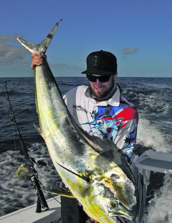 Matt Pierce with a gorgeous mahimahi caught east of Southport.