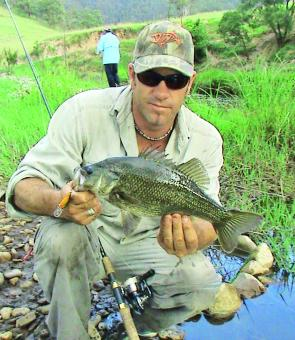 Dave Young with tidy bass taken walking Georges Creek right beside the lodge.