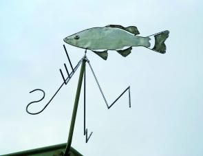 Bass Lodge's weather vane is very fitting indeed.