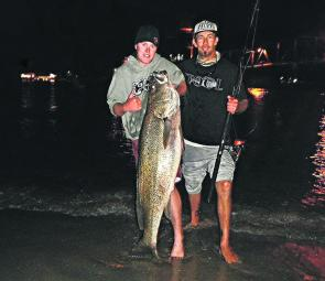 Joel Taylor's 25kg mulloway caught recently with Wade Eaton.