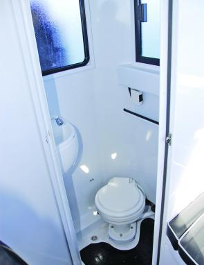 A full-sized shower and toilet compartment is a winning feature.