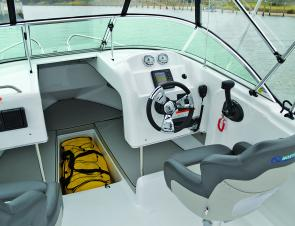 The helm is simple and effective, and the adjustable seats mean that you can fish from them as well as drive.