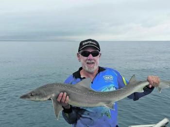 John Maxwell with a nice gummy caught offshore from Mcloughlins Beach.