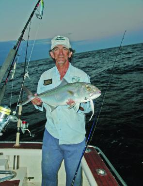 "Eric Grell caught this Amberjack from our Blackfin 29' Walkaround on a white hued Alewife coloured 7"" Assassin Shad cast from his EGrell S10 rod using the deep pulsing retrieve."