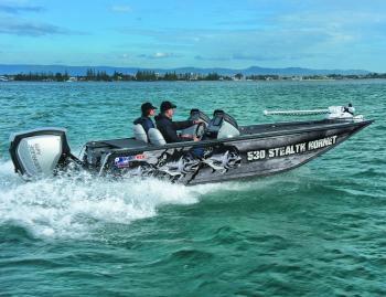 The 530 Stealth Hornet is a pretty radical upgrade. With the Evinrude G2 E-Tec 150, it's a rocket out of the hole and demonstrated great economy at cruising speeds.
