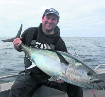Nick Murrell with a solid inshore tuna definitely over the 20kg mark.